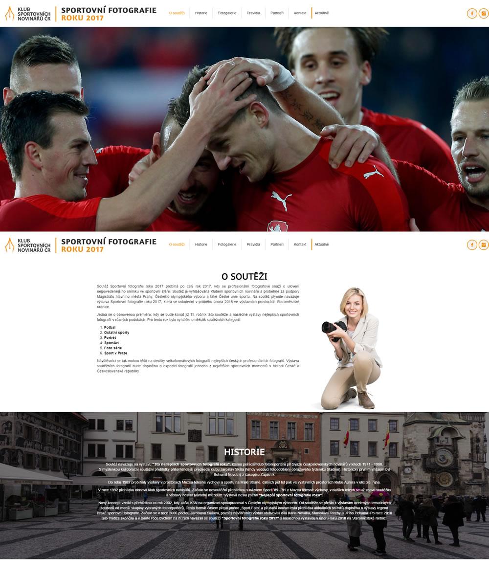 Tvorba jednostránkového webu pro Sportovnifotografie.eu